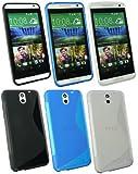 Emartbuy� HTC Desire 610 Gel H�lle Schutzh�lle Case Cover Packung mit 3 - Blau, Klar und Schwarz