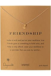 """Dogeared Jewels and Gifts Friendship Gold-Dipped Sterling Silver Anchor Pendant Necklace, 18.4"""""""