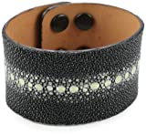 "Leighelena ""Mens"" Multi-Spine Black Adjustable Snap Cuff Bracelet"