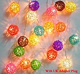 Mixed Colour Rattan Ball Fairy Light String