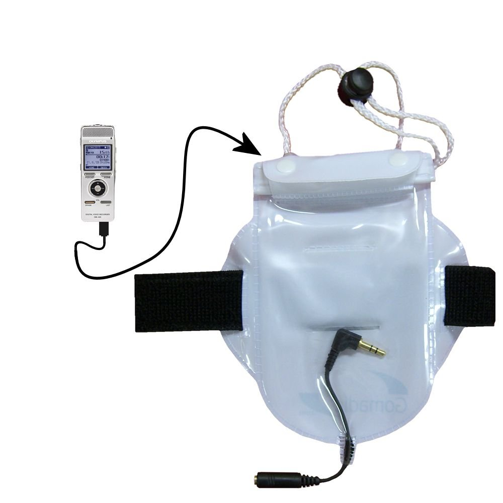 Water Dust and Sand proof Bag Workout Accessory with heaphone Pass-through for use with the Olympus DM-420