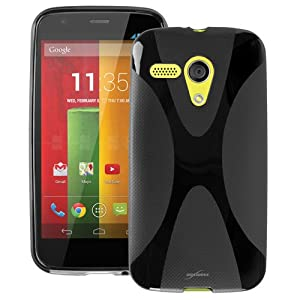 BoxWave Motorola Moto G BodySuit - Premium Slim-Fit Protective TPU Gel Skin Case, Texturized for Extra No-Slip Grip for the Motorola Moto G (Jet Black)