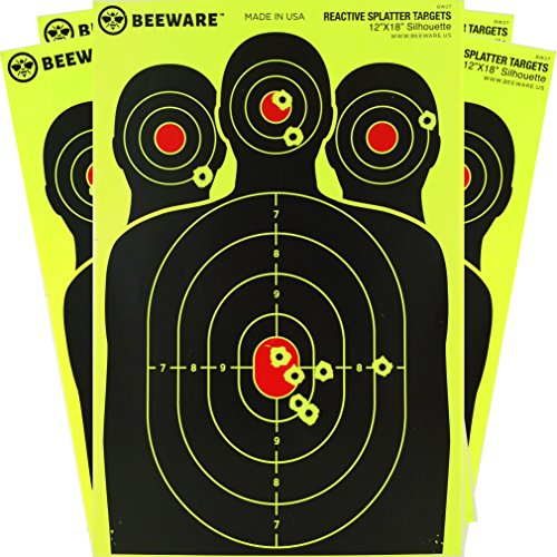 BEEWARE PREMIUM Reactive Splatter Targets - Fluorescent Silhouette Targets for Shooting 12x18 8 Pack (Bulk Gun Targets compare prices)
