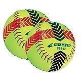 CHAMPRO SPORTS Striped Training Softball - Set of 2 Balls - Yellow CSB52S