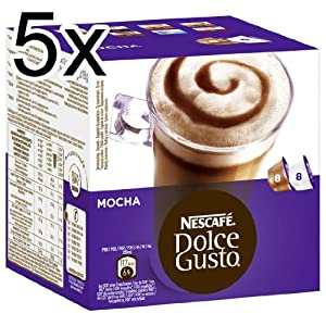 Nescafé Dolce Gusto Mocha, Pack of 5, 5 x 16 Capsules (40 Servings)