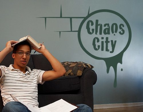 Best Quality Vinyl Wall Sticker Decals - Chaos-City ( Size: 16in x 14in - Color: gold ) - No: 1186