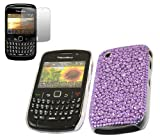 ITALKonline FunkGem PURPLE DOTS Diamonte Crystals Super Hydro Gel Protective Armour Case Skin Cover Shell with Screen Protector and MicroFibre Cleaning Cloth For BlackBerry 8520 Curve, 9300 3G