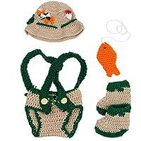 Jastore Baby Newborn Photography Prop Crochet Fisherman Costume Hat Diaper Shoes by Jastore