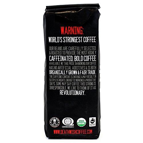 Death Wish Organic USDA Certified Whole Bean Coffee, 16 Ounce Bag