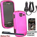 Pink Rubberized Protective Shield compatible with Samsung U380 Brightside, Car Charger with 5 ft Cord, 2 Pack Screen Protector and Stylus to Keep Fingerprints off your Phone.