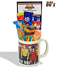 Star Trek..Characters Mug with a space travelling selection of 80's retro sweets.