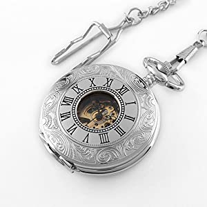 Men's Silvered Stainless Steel Case Skeleton Mechanical Pocket Watch with Chain WP083