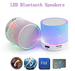 Bluetooth Speaker with LED wireless audio,Portable USB MP3 Player Stereo Surround Loud Mini Radio Bluetooth Speaker with Light Support TF Card and Phone Call Receiving Feature Support 3.5 MM audio jack+charging Cable For Videocon V1413