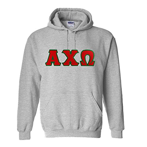 Alpha Chi Omega Lettered Hooded Sweatshirt Large Sports Grey (Chi Omega Hoodie compare prices)