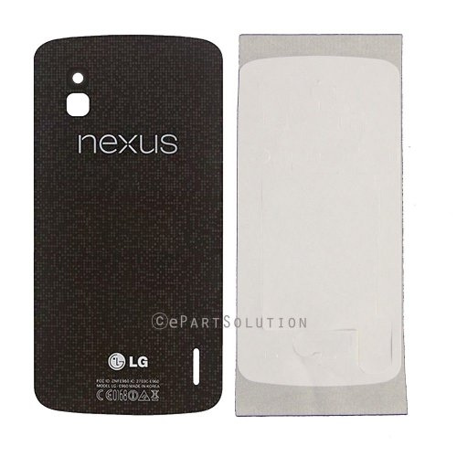 LG Google Nexus 4 E960 Back Door Battery Cover Glass Only Black Color Replacement Part (Lg Nexus 4 Back Cover compare prices)