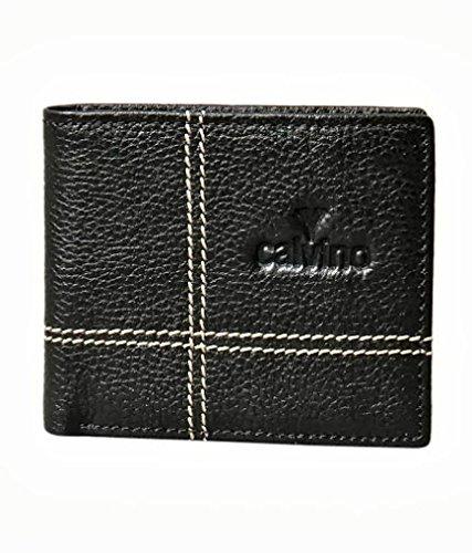 Calvino Calvino Contrast Stitch Black Men's Wallet