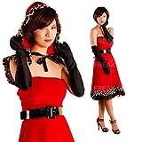 着るだけで華やぐ 赤×ヒョウ柄の個性派 サンタ レディース ドレス クリスマス コスプレ 衣装 a371