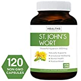 Best St. John's Wort 500mg 120 Capsules (Non-GMO) Powerful 900mcg Hypericin Saint Johns Wort Extract for Mood, Tincture & Mental Health - No Oil or Pills - Supplement