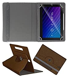 Acm Designer Rotating Case For Salora Pro Tab Hd Stand Cover Brown