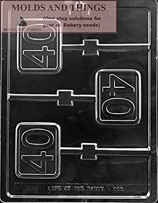 Number 40th Lolly Chocolate Candy Mold With © Candy Making Instruction