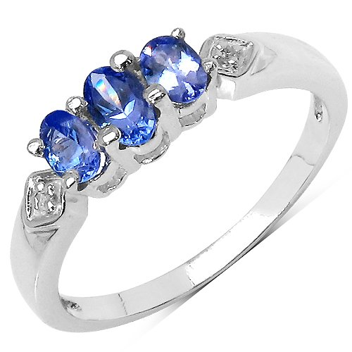 The Tanzanite Ring Collection: Ladies 925 Sterling Silver Tanzanite 3 Stone Engagement Ring with 0.48 Carats Genuine Tanzanite & White Topaz Set Shoulders (Size K). Comes in a Quality Ring Case for that Special Gift.