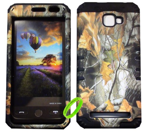 Cellphone Trendz BLU Dash 5.0 D410A Hard & Soft Rubber Hybrid Rocker High Impact Case – Hunter Series Camo Mossy Dry Leaves (Black)