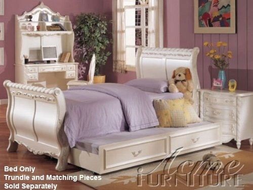 Pearl White Finish Twin Size Bed