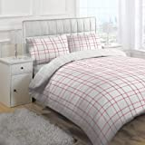 Linens Limited Derby Check Duvet Cover Set, Red, Double