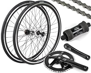 EighthInch Deluxe Fixed Gear Single Speed Conversion Kit: Black