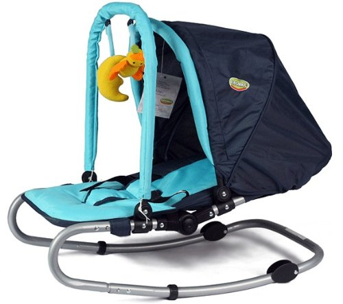 VINSANI BLUE BABY BOUNCER ROCKER WITH HOOD AND TOYS