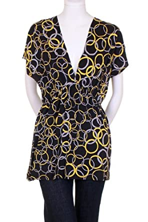 Hourglass Plunging Neckline Short Sleeve Elastic Waistline Circle Print Tunic Blouse Black Gray Yellow Medium