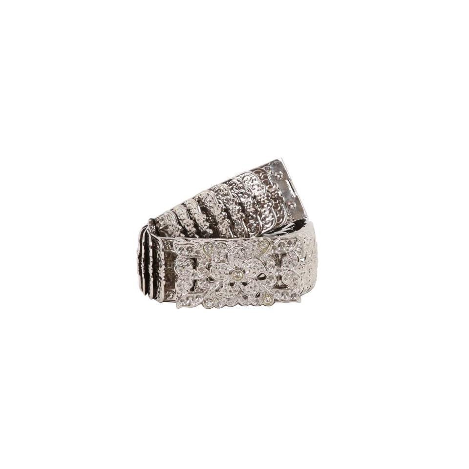 Rectangular Rhinestone 1 3//4 Elastic Sequent Metal Stretch Belt
