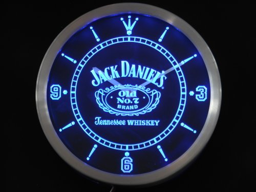 LED Neon Light Wall Clock JACK DANIELS BLUE BEER Bar Cafe Pub Restaurant - Free Shipping