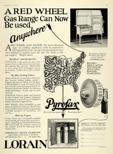 1927 Ad Lorain Pyrofax Red Wheel Gas Range Stove Oven - Original Print Ad