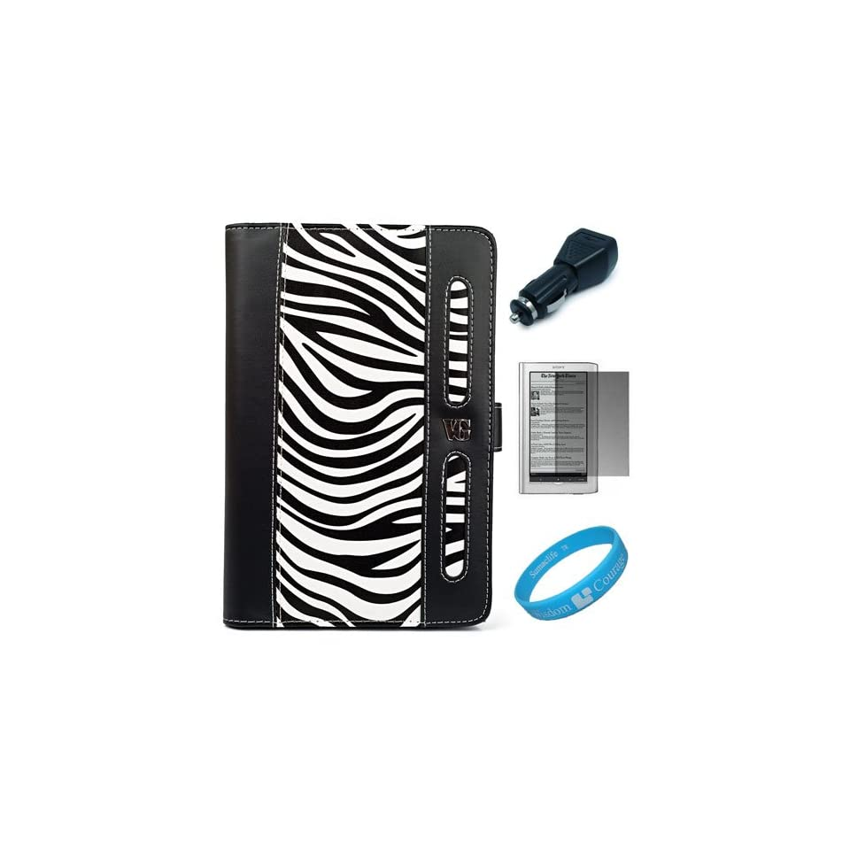 Black / White Zebra Print Executive Leather Portfolio Case Cover with Elastic Zebra Print Hand Strap for Sony PRS 950SC Daily Edition Reader + Screen Protector + Black USB Car Charger + SumacLife TM Wisdom*Courage Wristband
