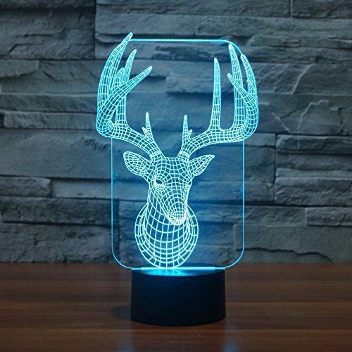 Atmosfera di illuminazione 3D Elk di tocco variopinto LED luci ottiche regalo decorazione lampada da tavolo