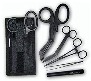 Shears; Emt/scissors Combo Pack With Holstertactical All Black