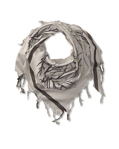 LEIGH & LUCA Women's Micro Houndstooth Branches Triangle Scarf, Grey As You See