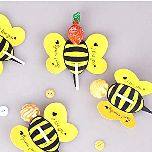 Bee Lollipops Cards,Super Cute Insect Candy Lollipop Perfect for Baby Shower, Wedding and Birthday Party Decoration-(Approx.50PCS) (Color: Bee)