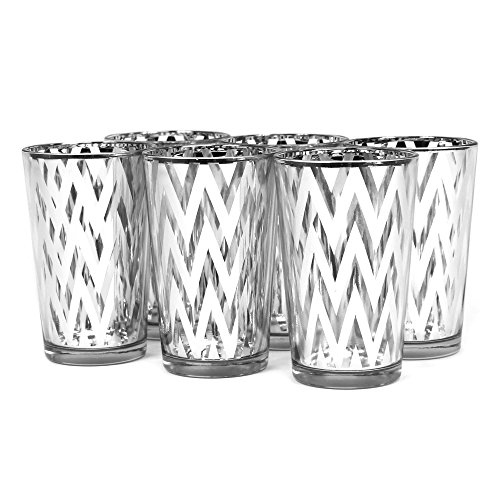 Koyal 6-Pack Chevron Votive Cup, 4-Inch, Silver front-993287