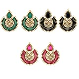 Combo of ( Pack of Three Earrings Set )Tradisyon Bollywood Celebrity Inspired Green, Black, Pink Stunning Pearl With Earring Chandelier Earrings By Kaizer