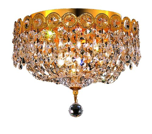Elegant Lighting 1900F10G/RC Century 9-Inch High 3-Light Chandelier, Gold Finish with Crystal (Clear) Royal Cut RC Crystal