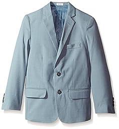 Calvin Klein Big Boys\' Striated Sharkskin Jacket, Medium Teal, 08