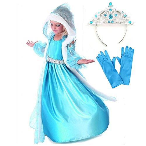 GenialES® Costume Vestito Principessa Dress Blu con Cappuccio Timbrato Fiocchi di Neve per Ragazze 2-8 anni
