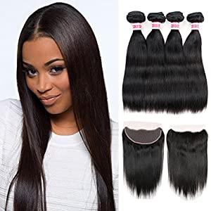Fabeauty 7A (20 20 22 22 +18) Human Hair Extensions 4 Bundles with Lace Frontal Closure Brazilian Straight Wave Hair 4 Pcs with Closure-Full Frontal Lace Closure (13*4 ), Natural Black