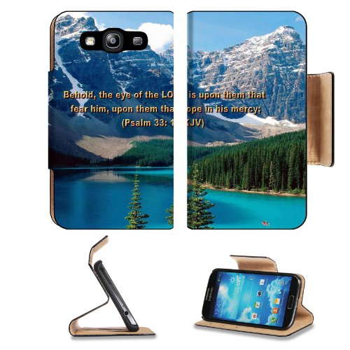 Famous Bible Verse Psalm 33:18 Samsung Galaxy S3 I9300 Flip Cover Case With Card Holder Customized Made To Order Support Ready Premium Deluxe Pu Leather 5 Inch (132Mm) X 2 11/16 Inch (68Mm) X 9/16 Inch (14Mm) Msd S Iii S 3 Professional Cases Accessories O