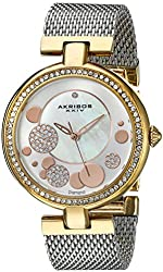 Akribos XXIV Women's AK881TRI Round White Mother of Pearl with Silver and Gold Dial Three Hand Quartz Gold Tone Bracelet Watch