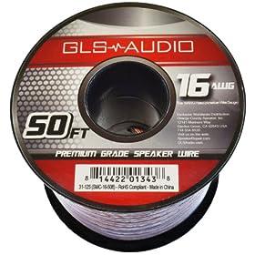 GLS Audio Premium 16 Gauge 50 Feet Speaker Wire - True 16AWG Speaker Cable 50ft Clear Jacket - High Quality 50' Spool Roll 16G 16/2 Bulk