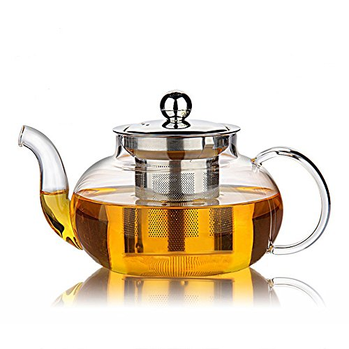 Best Price! Hiware Good Glass Teapot with Stainless Steel Infuser & Lid, Pyrex Glass Teapots Stoveto...