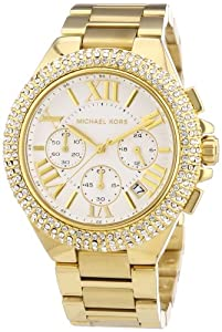 Michael Kors Women's MK5756 Gold Stainless-Steel Analog Quartz Watch with White Dial
